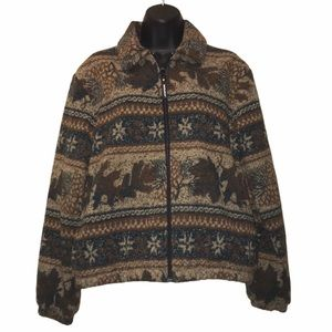WOOLRICH Fall Print Zip Front Coat/Jacket~M